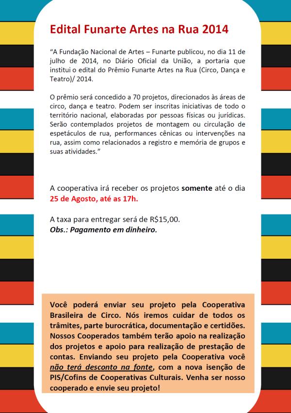 Informativo Edital - Artes na Rua